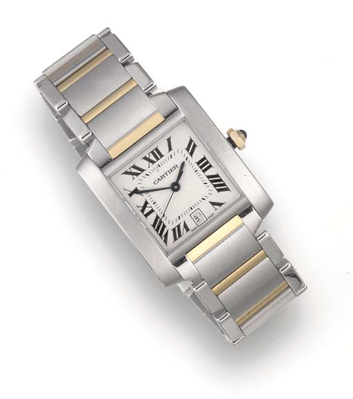 CARTIER, A STEEL AND GOLD AUTO