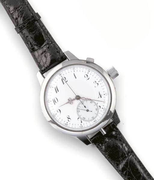 A LARGE STEEL CHRONOGRAPH MINU