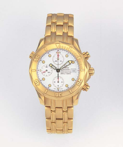 OMEGA, AN 18ct. GOLD AUTOMATIC