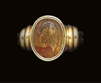 A ROMAN CITRINE INTAGLIO WITH