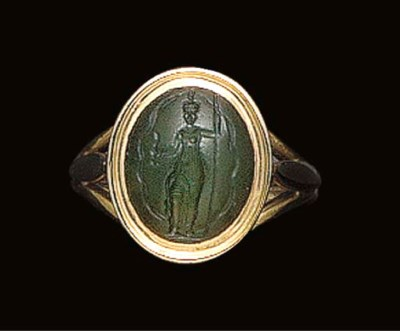 A ROMAN GREEN CHALCEDONY INTAG