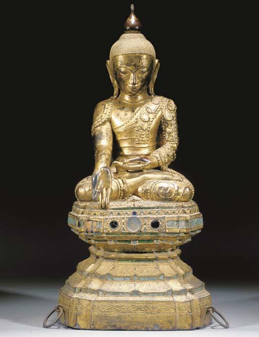 A large giltwood Burmese Buddh