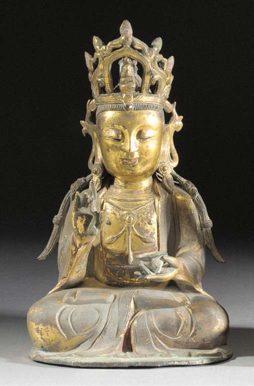 A Chinese gilt bronze figure o