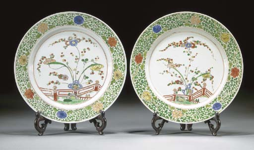 A pair of famille verte plates