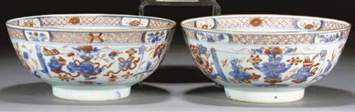 A pair of Chinese Imari bowls