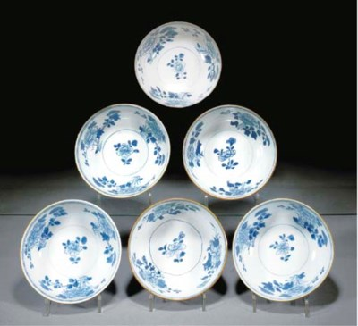 Six Chinese blue and white, ca