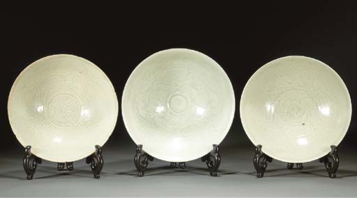 Three yingqing pottery bowls S