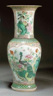 A famille rose yenyen vase 19t