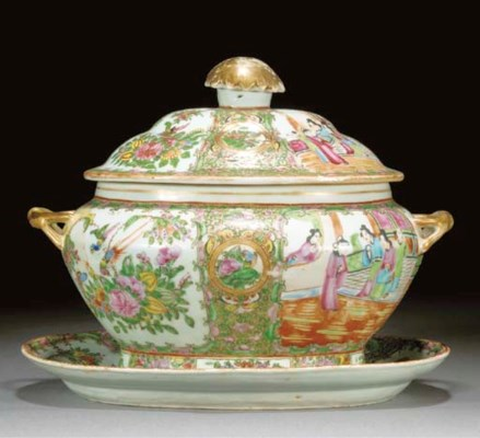 A Cantonese oval tureen, cover