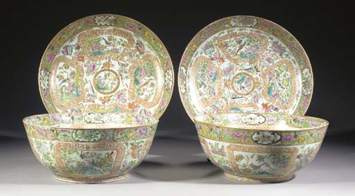 Two similar Cantonese bowls an