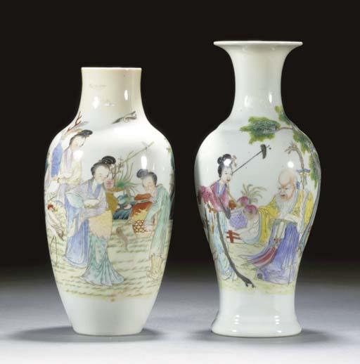 A famille rose baluster vase E