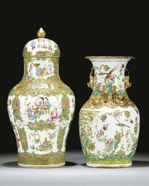 A Cantonese baluster vase and