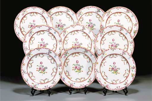Ten famille rose dishes 18th c