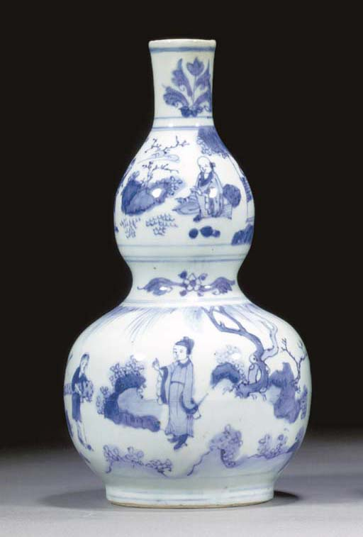 A Chinese blue and white doubl