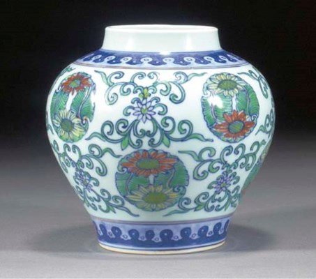 A Chinese doucai baluster vase