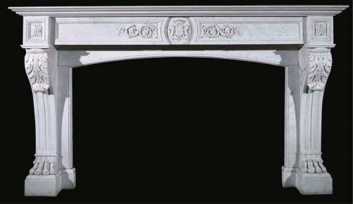 A Carrara marble chimneypiece