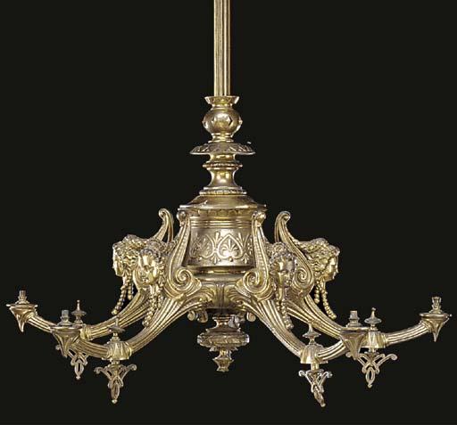 A Victorian gilt brass five li