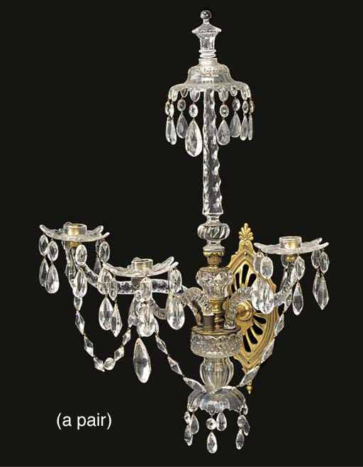A pair of cut glass and gilt m