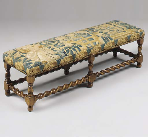 A WALNUT TAPESTRY UPHOLSTERED