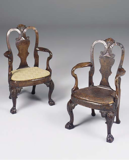 A PAIR OF BURR WALNUT AND WALN