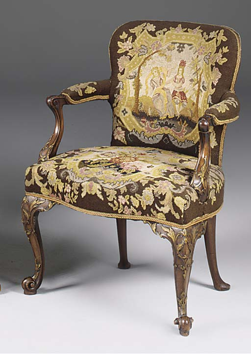 A MAHOGANY AND GILT DECORATED