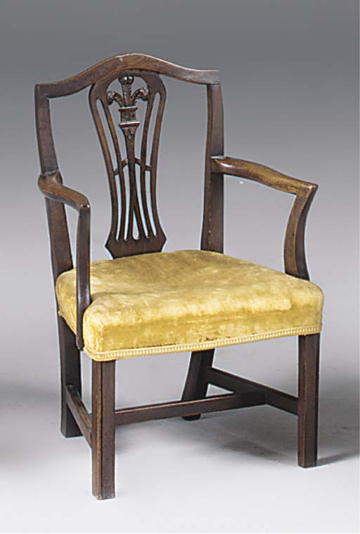 A MAHOGANY CHILD'S ARMCHAIR
