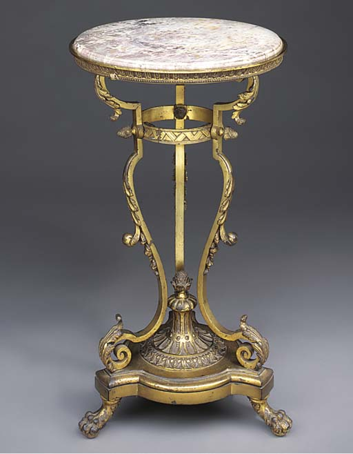 A French gilt bronze and marbl