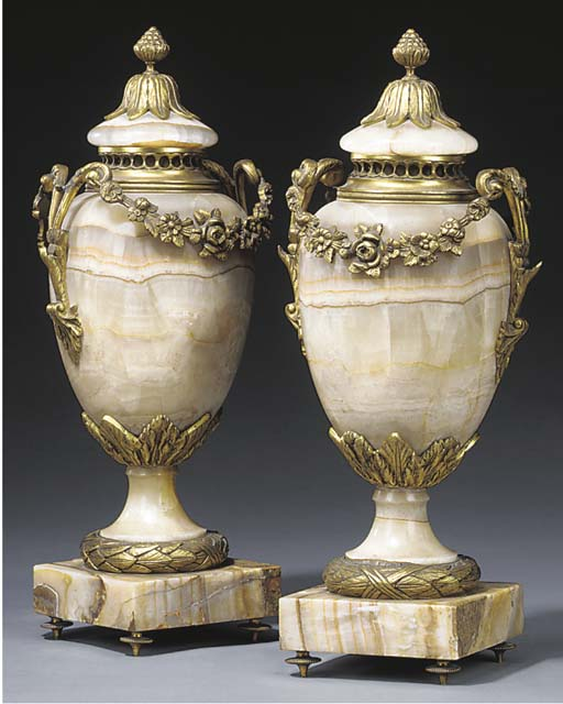A pair of French gilt metal an
