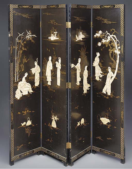 A four fold Chinese lacquer sc