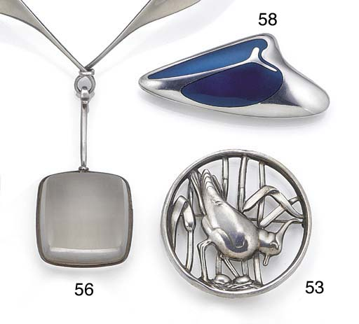 A Georg Jensen silver and blue