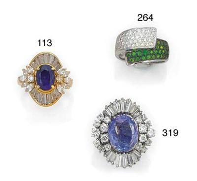A diamond and tsavorite garnet