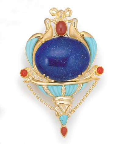 A diamond, lapis lazuli, turqu