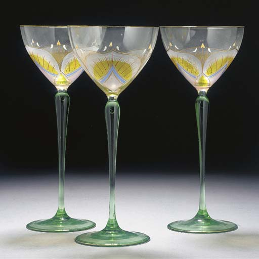 SEVEN ENAMELLED HOCK GLASSES