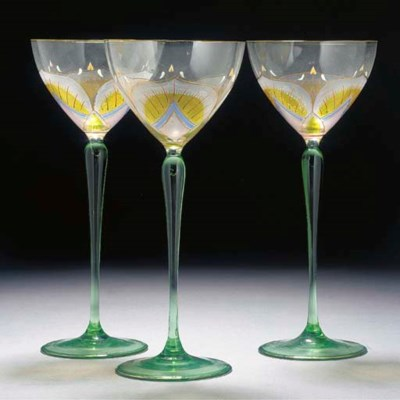SEVEN ENAMELLED HOCK GLASSES