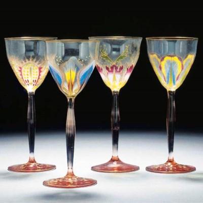 A GROUP OF THIRTEEN HOCK GLASS