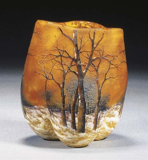 A Daum cameo and enamelled vas