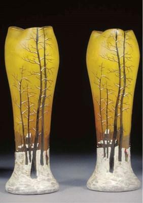 A pair of enamelled vases