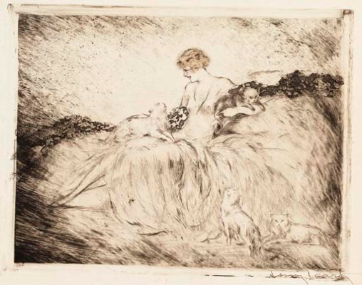 A DRYPOINT AND AQUATINT WITH H
