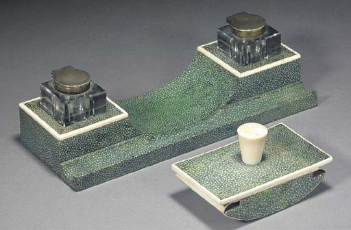 A shagreen and ivory desk comp