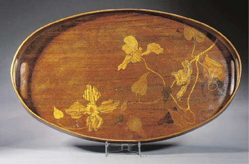 A Gallé oval marquetry tray