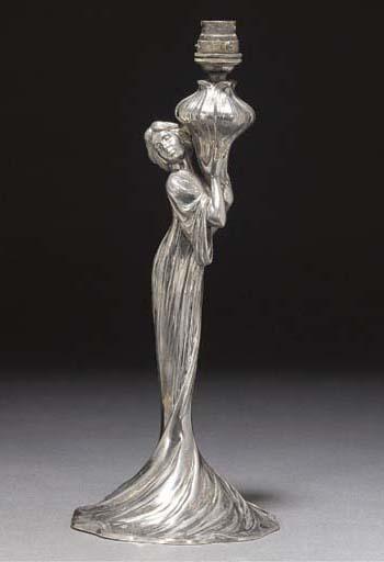 A WMF silvered metal figural l