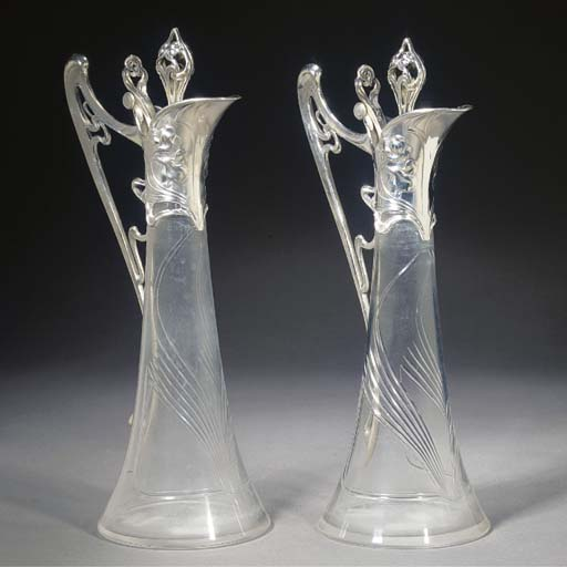 A pair of WMF silvered metal a