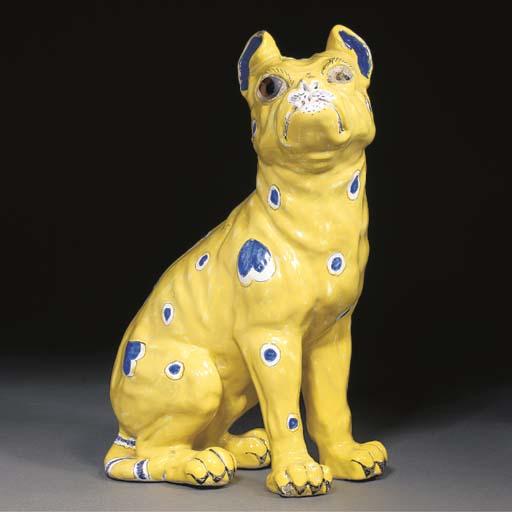 A Gallé polychrome faience dog