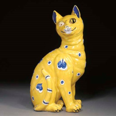 A Gallé polychrome faience cat