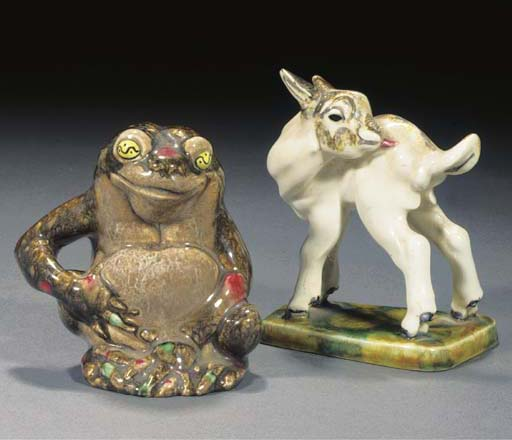 A polychrome pottery figure