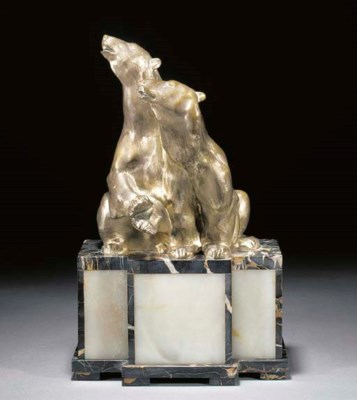A silvered bronze and marble f