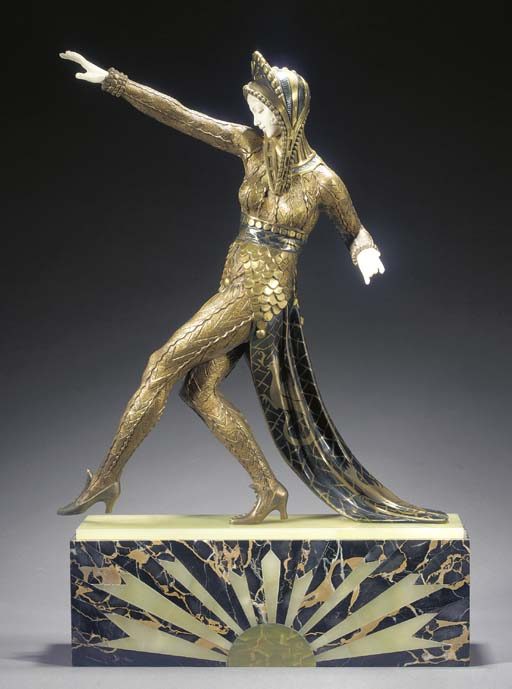 A large bronze and ivory figur