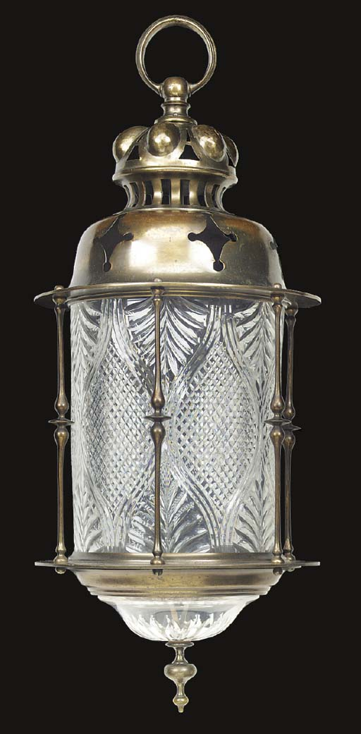 A brass and cut glass hall lantern