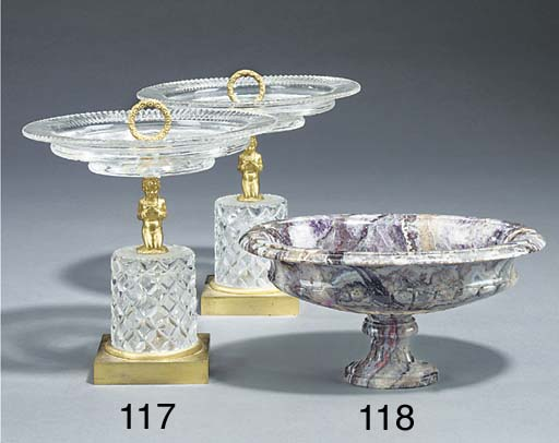 A pair of Louis Philippe ormolu and cut glass tazze