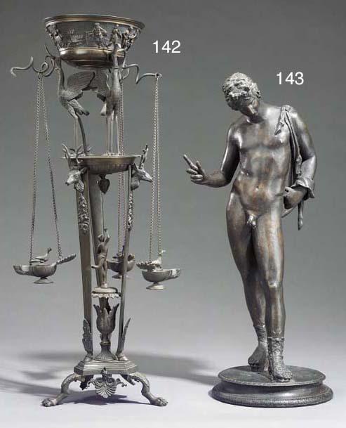A Neapolitan bronze figure of Narcissus